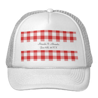 Red gingham pattern wedding favors hats
