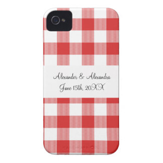 Red gingham pattern wedding favors Case-Mate iPhone 4 cases