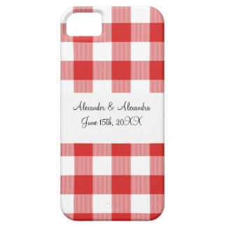Red gingham pattern wedding favors iPhone 5 cases