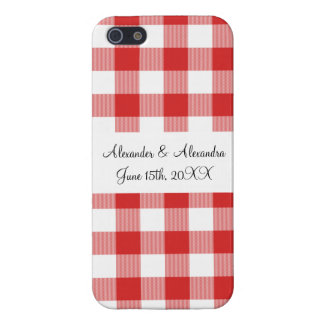 Red gingham pattern wedding favors cases for iPhone 5