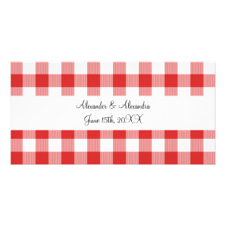 Red gingham pattern wedding favors photo card