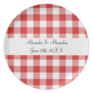 Red gingham pattern wedding favors plate
