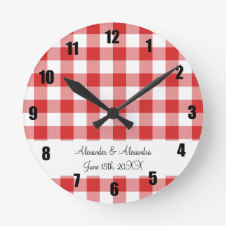 Red gingham pattern wedding favors round clock