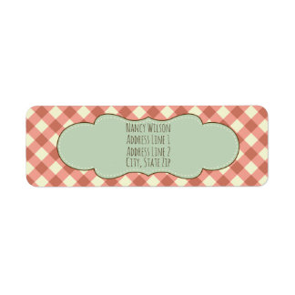 Red Gingham Pretty Return Address Label