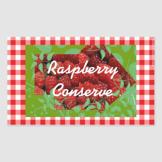 Red gingham Raspberry conserve labels