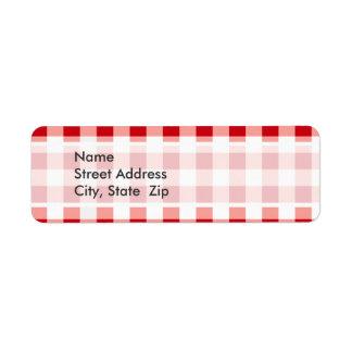 Red Gingham Return Address Label