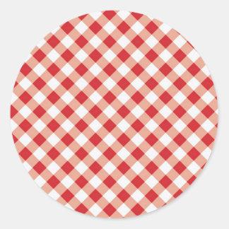 Red Gingham Round Sticker
