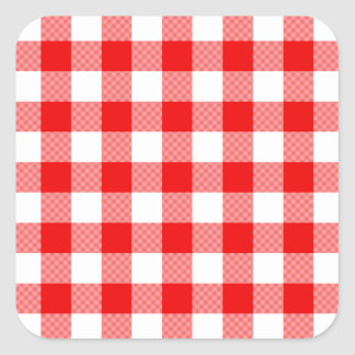 Red Gingham Square Sticker