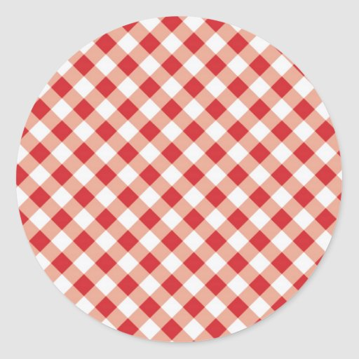 Red Gingham Round Sticker