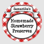 Red Gingham Strawberry Jelly Jam Jar Label Round Stickers