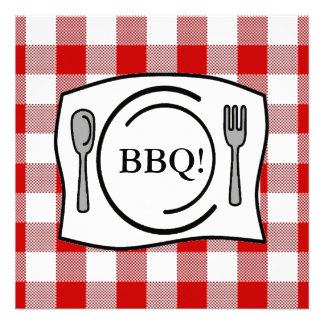 Red Gingham Tablecloth BBQ Invitation