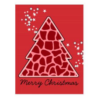 Red giraffe Christmas Tree Postcard