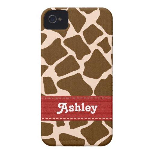 Red Giraffe Print Blackberry Bold Case