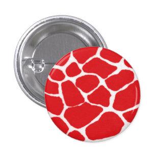 Red Giraffe Print Pattern 3 Cm Round Badge