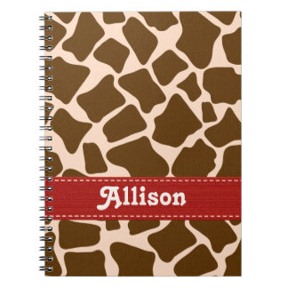 Red Giraffe Print Spiral Notebook Journal