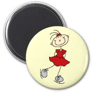 Red Girl Ice Skater T-shirts and Gifts 6 Cm Round Magnet