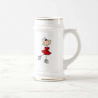 Red Girl Ice Skater T-shirts and Gifts Beer Steins