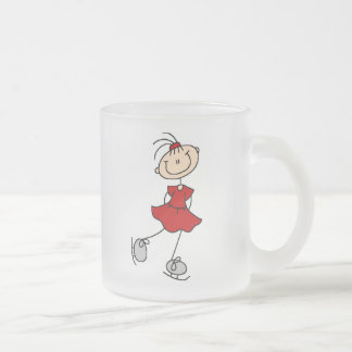 Red Girl Ice Skater T-shirts and Gifts Frosted Glass Mug