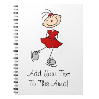 Red Girl Ice Skater T-shirts and Gifts Spiral Note Book