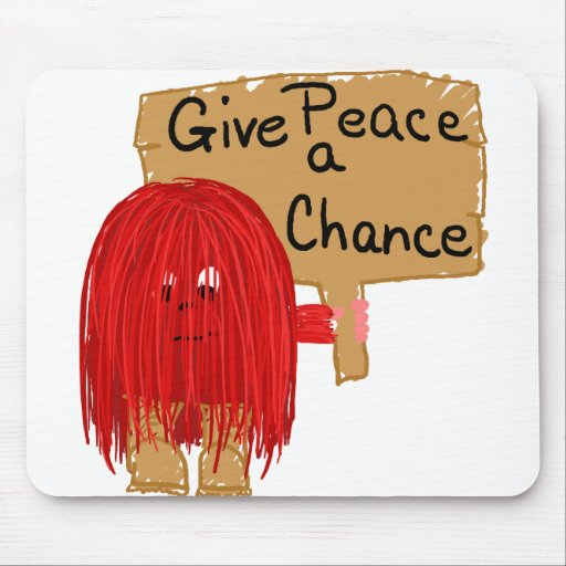 red give peace a chance mouse pads
