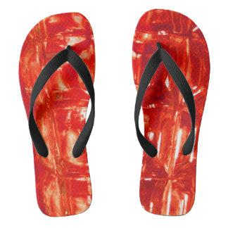 Red Glass Abstract Art Flip Flops