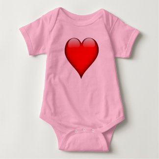 Red Glass Heart Customizable Baby Bodysuit