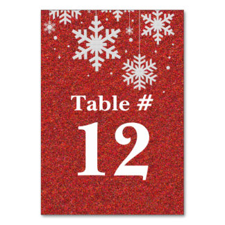 Red Glitter and Snowflakes Holiday Table Number