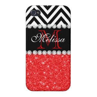 RED GLITTER BLACK CHEVRON MONOGRAMMED iPhone 4/4S COVER