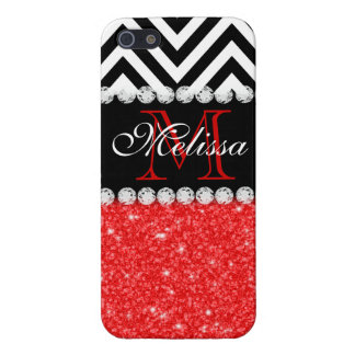 RED GLITTER BLACK CHEVRON MONOGRAMMED iPhone 5 CASES