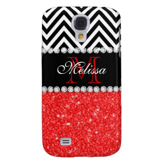 RED GLITTER BLACK CHEVRON STRIPES MONOGRAM GALAXY S4 CASE