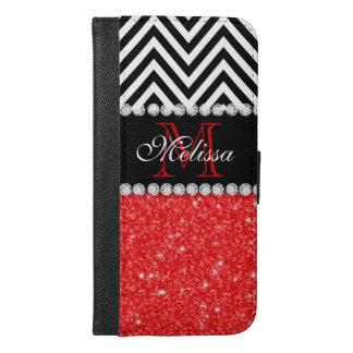 RED GLITTER BLACK CHEVRON STRIPES MONOGRAM iPhone 6/6S PLUS WALLET CASE