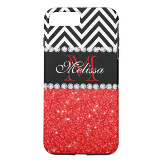 RED GLITTER BLACK CHEVRON STRIPES MONOGRAM iPhone 8 PLUS/7 PLUS CASE