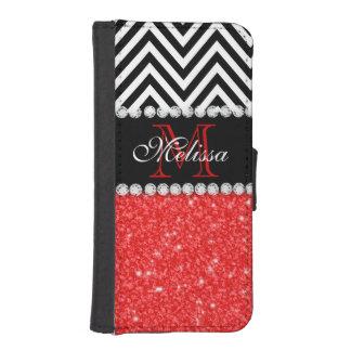 RED GLITTER BLACK CHEVRON STRIPES MONOGRAM iPhone SE/5/5s WALLET CASE