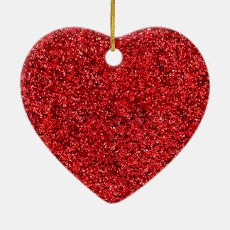 Red Glitter Ceramic Heart Decoration