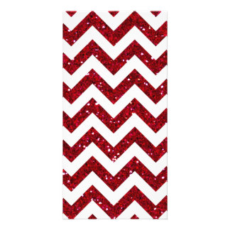 Red Glitter Chevron Pattern Card