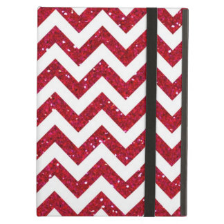 Red Glitter Chevron Pattern Case For iPad Air