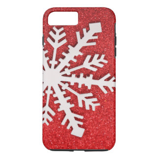 Red Glitter Christmas Sparkles Barely Snowflake iPhone 8 Plus/7 Plus Case