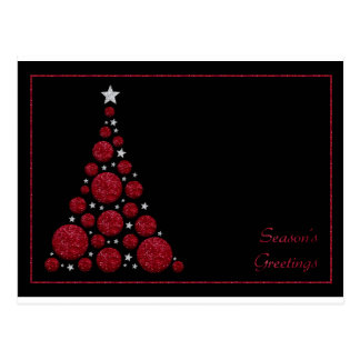 Red Glitter Christmas Tree-Season's Greetings Card Postcard