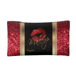 Red Glitter Confetti with Red Lips Cosmetics Bags