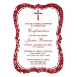 Red Glitter Cross Holy Communion Or Confirmation 13 Cm X 18 Cm Invitation Card