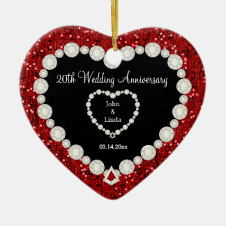 Red Glitter DIY Wedding Anniversary Christmas Ornament