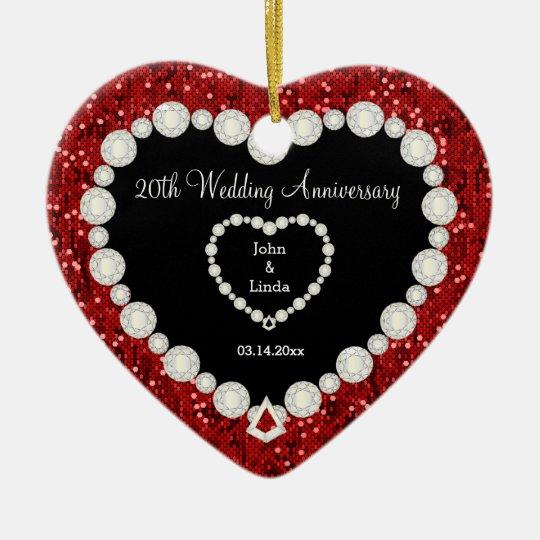 Red Glitter DIY Wedding Anniversary Christmas Ornament