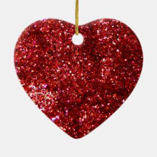 Red Glitter Effect Ceramic Heart Decoration