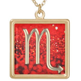 Red Glitter Gold Scorpio Zodiac Sign Necklace