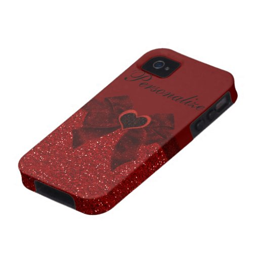 Red Glitter, Heart & Bow iPhone 4/4S Case