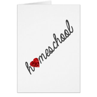 Red Glitter Heart Homeschool Greeting Card
