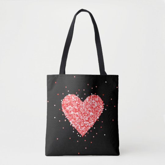 Red Glitter Heart Tote Bag