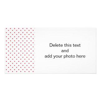 Red Glitter Hearts Pattern Custom Photo Card