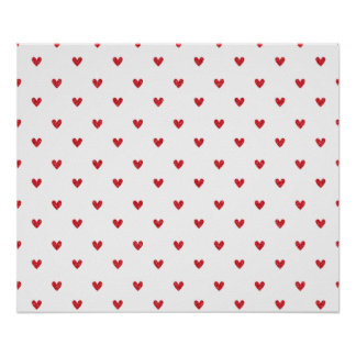 Red Glitter Hearts Pattern Poster