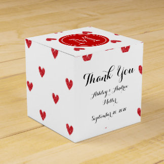 Red Glitter Hearts with Monogram Favour Box